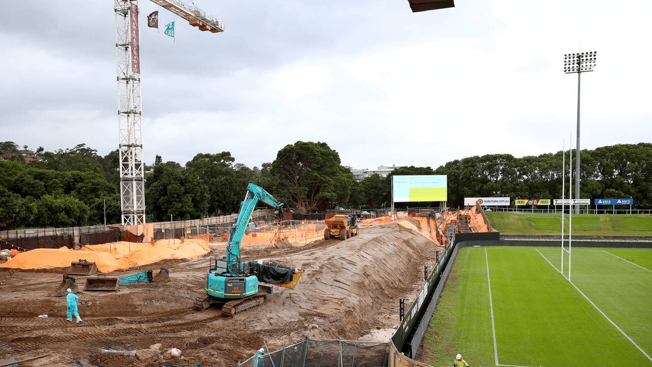 The construction will impact crowd numbers in 2021, with just 6000 fans allowed at Manly home games. Picture: Toby Zerna.